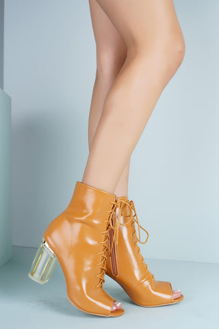 Grace Perspex Booties - Camel