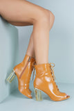 Grace Perspex Booties - Camel - WantMyLook