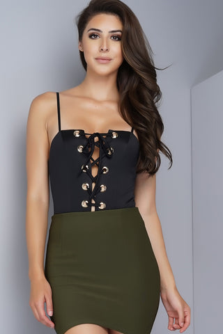 Amelia Lace Up Bodysuit - Black - WantMyLook
