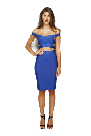 Natalie Bandage Dress - Royal Blue