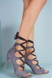 Rina Ballerina Lace Up Heels - Grey