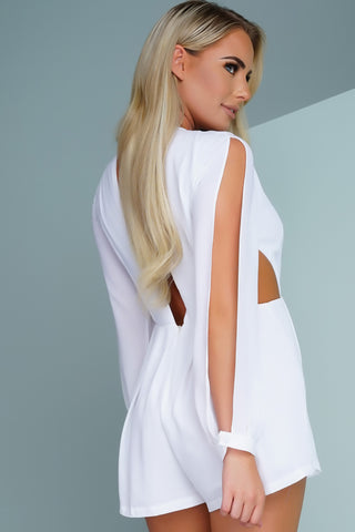 Kaliyah Open Shoulder Romper - White