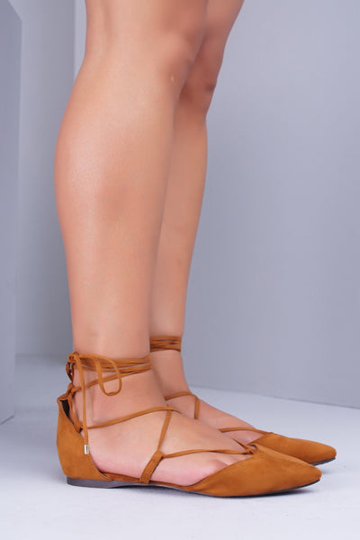 Daisy Lace Up Flats - Camel