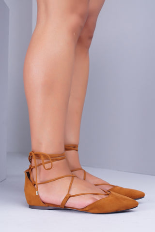 Daisy Lace Up Flats - Tan