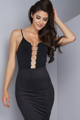 Violetta O-Ring Bodysuit - Black - WantMyLook