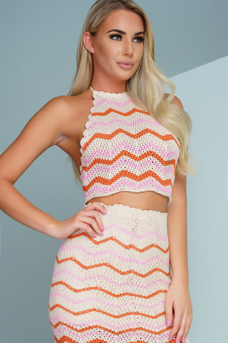 Molli Top - Pink/Ivory Stripe