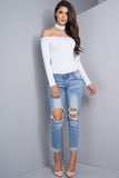 Low Rise Distressed Boyfriend Jeans - Light Wash