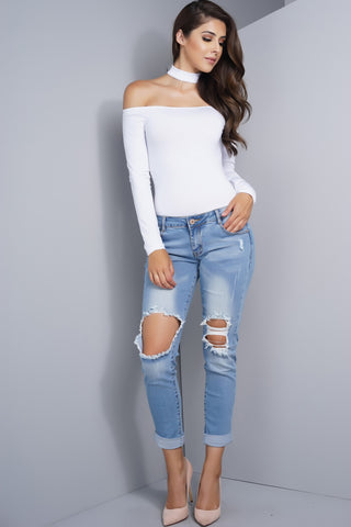 Low Rise Distressed Boyfriend Jeans - Light Wash - WantMyLook