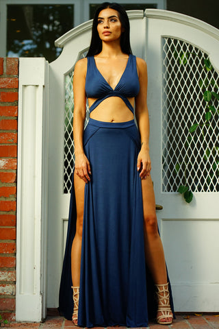 Serena Suede Maxi Dress - Navy - WantMyLook