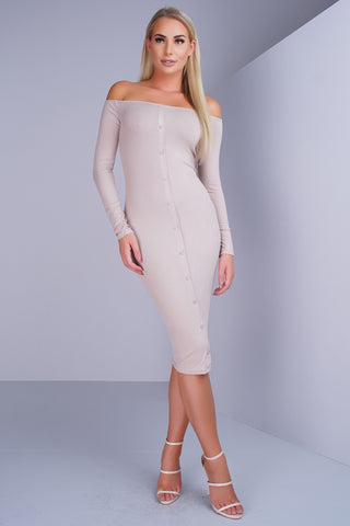 Alexa Button Midi Dress - Taupe