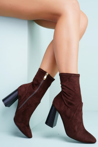 Bea Suede Booties - Brown