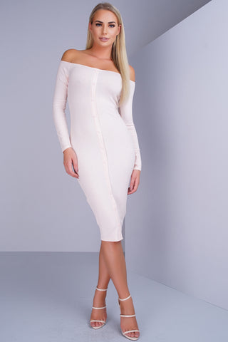 Alexa Button Midi Dress - Blush