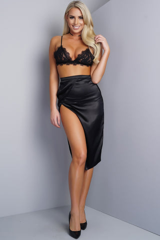 Candace Asymmetrical Side Slit Satin Skirt - Black