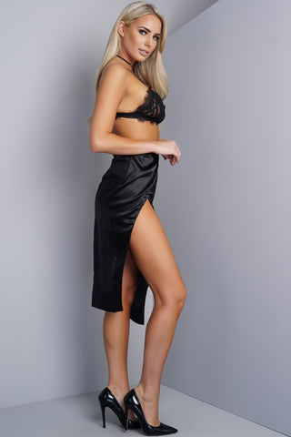 Candace Asymmetrical Side Slit Satin Skirt - Black - WantMyLook