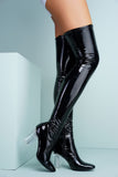 Farah Patent Over The Knee Boots - Black