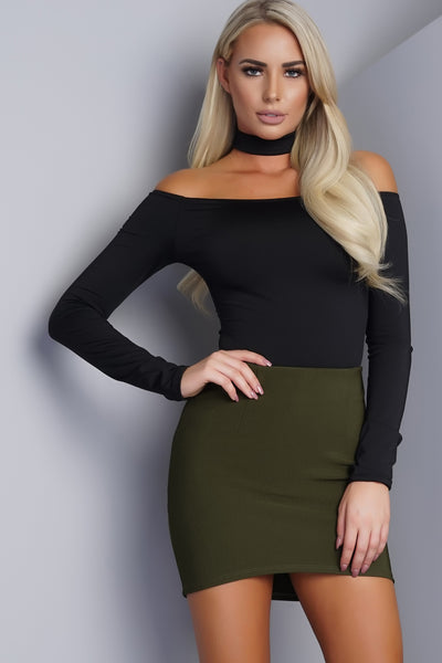 Nessa Off Shoulder Choker Bodysuit - Black
