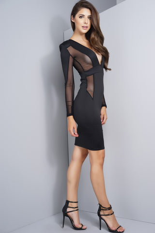 Kinsey Mesh Dress - Black
