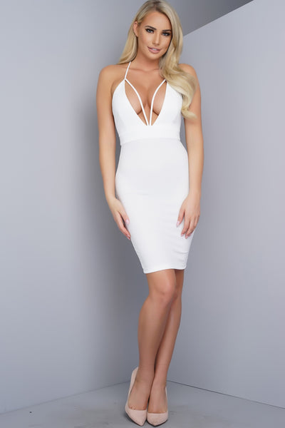 Callie Mini Strappy Dress - White - WantMyLook