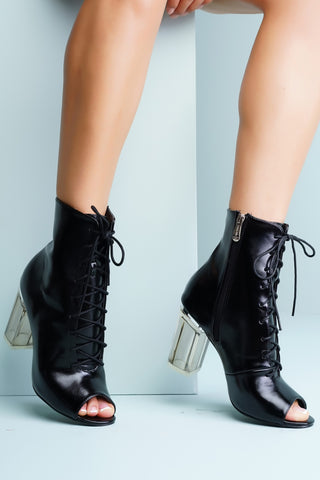 Grace Perspex Booties - Black