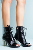 Grace Perspex Booties - Black - WantMyLook