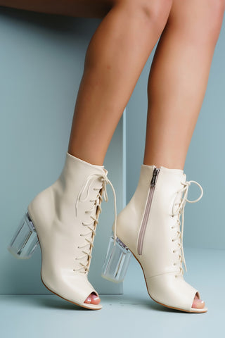 Grace Perspex Booties - Nude