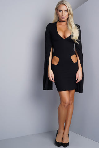Ellery Cape Dress - Black - WantMyLook