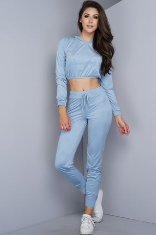 Caprice Suede Joggers - Dusty Blue