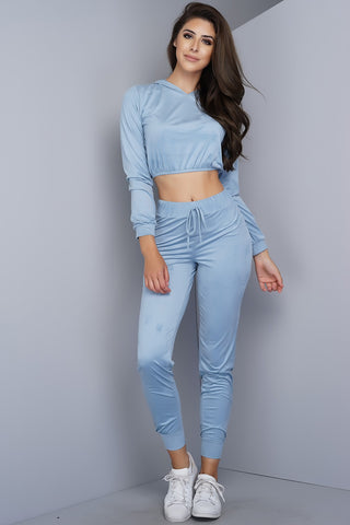Caprice Suede Crop Top - Dusty Blue