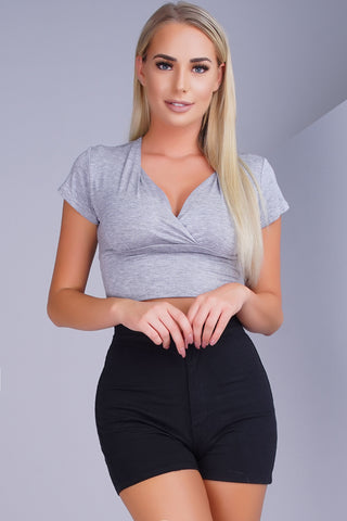 Crush Crop Top - Heather Grey