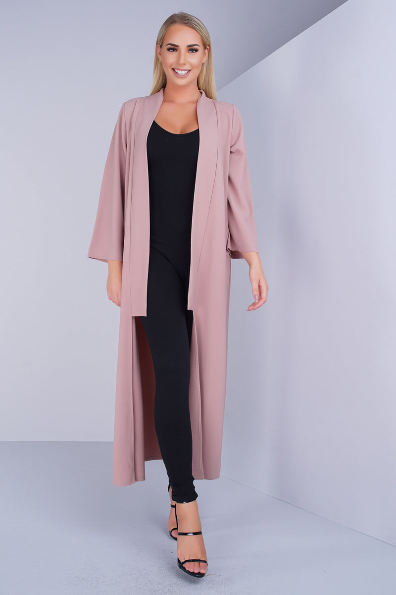 Woven Crepe Long Duster - Taupe - WantMyLook