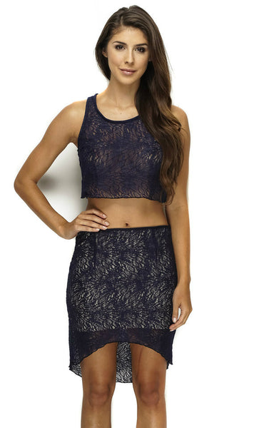 Tara Crochet Lace Crop Set - Navy - WantMyLook