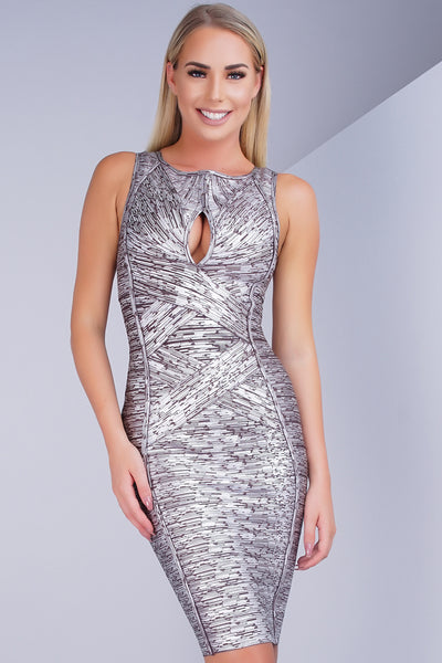 Solange Metallic Bandage Dress - Silver