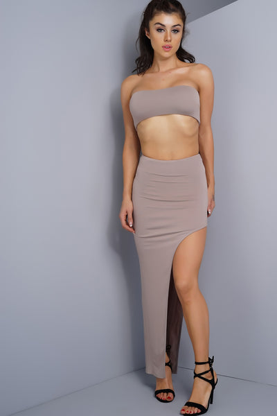 Kelly Side Slit Skirt - Taupe