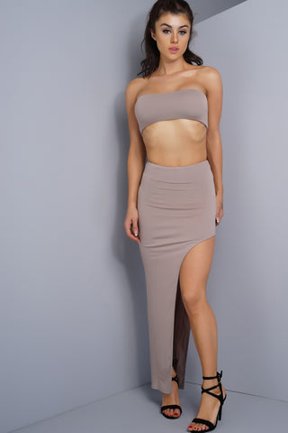 Kelly Side Slit Skirt - Taupe - WantMyLook