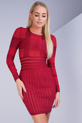 Aster Sheer Bandage Dress - Red - WantMyLook