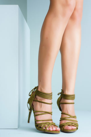 Adelina Strappy Heels - Olive - WantMyLook