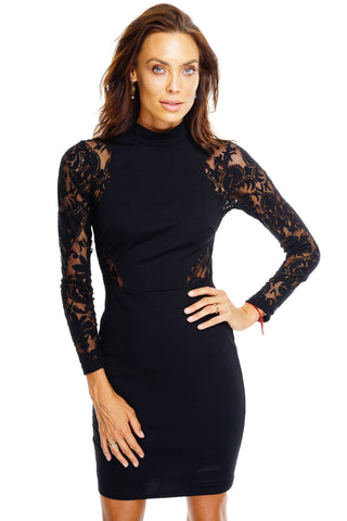 Jenna Lace Dress - Black - WantMyLook