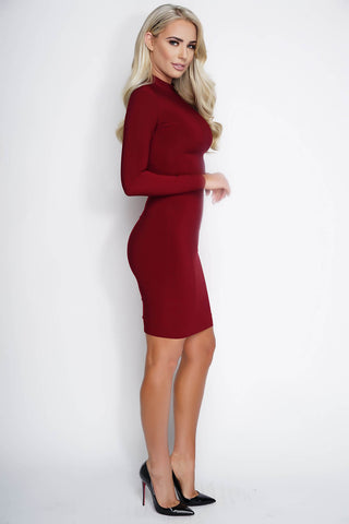 Esra Bodycon Midi Dress - Burgundy