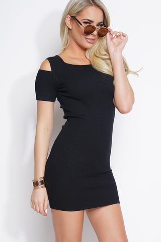 Ada Cold Shoulder Knit Dress - Black