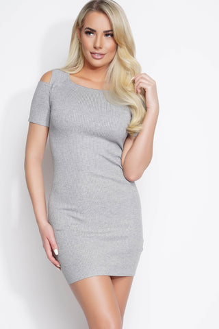 Ada Cold Shoulder Knit Dress - Grey - WantMyLook