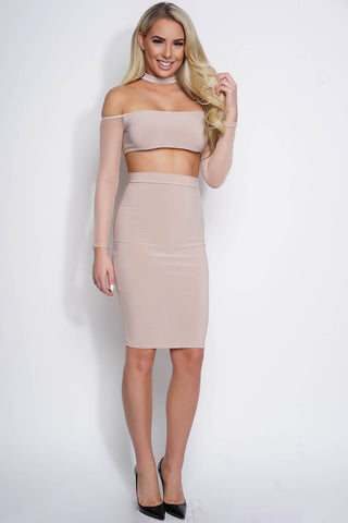 Audrey Mesh Choker Dress - Tan - WantMyLook