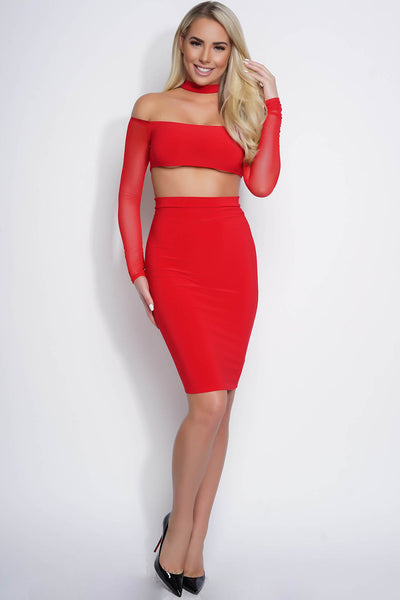 Audrey Mesh Choker Dress - Red - WantMyLook