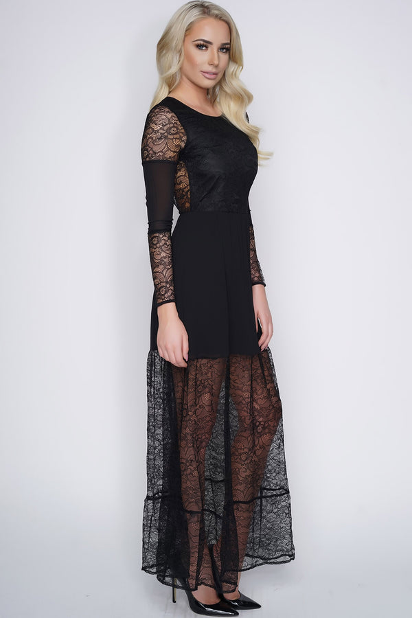 Ria Lace Maxi Dress - Black