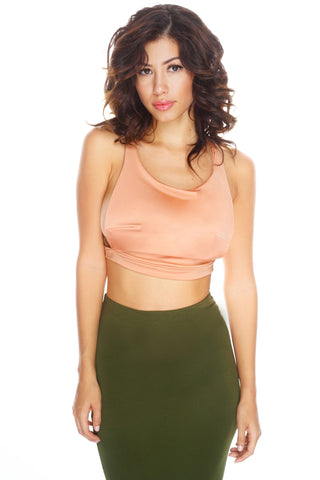 Utierre Cropped Tank - Peach - WantMyLook
