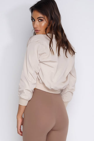 Crop Bomber Jacket - Cream