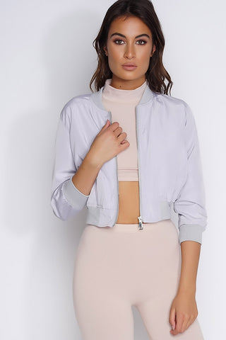 Crop Bomber Jacket - Grey