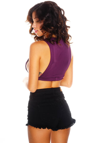 Utierre Cropped Tank - Purple - WantMyLook