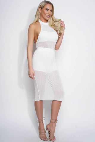 Emmeline Halter Sweater Dress - White - WantMyLook