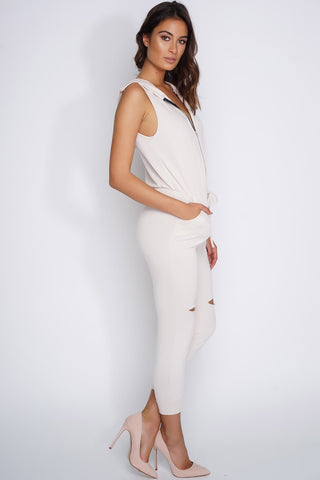 Imani Zipper Knee Cut Out Hoodie Jumpsuit - Nude - WantMyLook