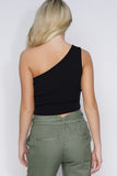 Tia One Shoulder Crop Top - Black - WantMyLook